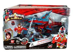 Bandai Year 2011 Power Rangers Samurai Series Action Figure Zord Vehicle Set - SHARK ZORD with 4 Inch Tall Fire Red Shark Attack Ranger &quo...