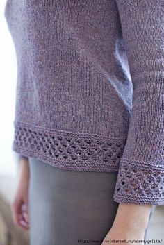"""Diy Crafts - """"Who doesn't love and need the comfort and simplicity of a long sleeved, crew neck T-shirt? Especially a T-shirt enhanced with a Lattice Sweater Knitting Patterns, Lace Knitting, Knitting Stitches, Knit Crochet, Knit Lace, Lace Patterns, Knitting Projects, Knitwear, Couture"""