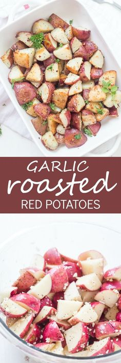 These easy Garlic Roasted Red Potatoes are full of flavor! They are crispy on the outside and oh, so tender on the inside - my favorite. Oven-roasted potatoes are a must-have for any meal!  via @galmission