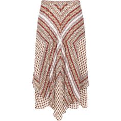 Derek Lam 10 Crosby - HANDKERCHIEF MIDI SKIRT ($450) ❤ liked on Polyvore featuring skirts, tiered skirt, silk skirt, midi skirt, mid calf skirts and patterned midi skirt