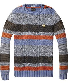Striped Colour Block Crew Neck Pull > Mannenkleding > Pullovers bij Scotch & Soda chunky knit sweater.