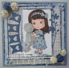 Mine Prosjekter: Girl with teddy Digital Stamps, Homemade Cards, Paper Crafting, Card Making, Create, Handmade, Diy, Color, Paper Engineering