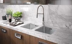 Barrique Moderne Küche Marmor Arbeitsplatte Stahl Griffe
