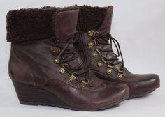 Womens BareTraps Wedge Ankle Fashion Boots 6 1/2 M Brown Faux Fur Lace Zip  #BareTraps #AnkleBoots #Boots