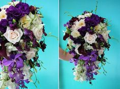 cascade, wedding, deep purple, ivory, blush, orchids, roses, purple bouquet, purple wedding, lavendar wedding, plum wedding, eggplant wedding purple bridal bouquet