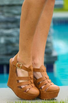 Just A Taste Wedge-Cognac - New Today | The Red Dress Boutique