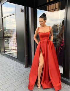 Spaghetti Straps Red Satin Long Prom Dresses with Split Front 8e32dfa49dca
