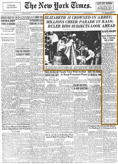 June 2, 1953, Queen Elizabeth II of Britain was crowned in Westminster Abbey, 16 months after the death of her father, King George VI.