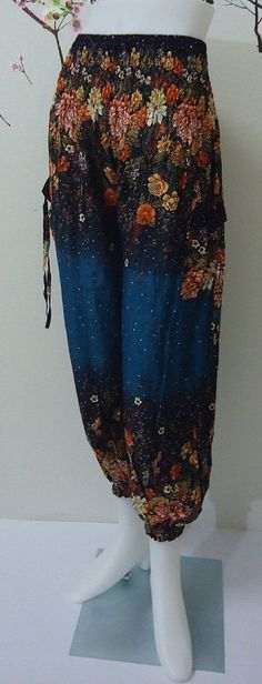 Hey, I found this really awesome Etsy listing at https://www.etsy.com/listing/192093019/floral-flower-dark-green-trouser-harem