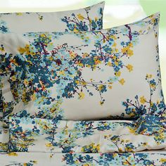 Tribeca Living Casablanca Floral Printed Extra Deep Pocket Sheet Set (Cal King), Blue, Size California King