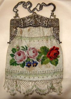 Eclectic ... like me: Antique Beaded Bag. 800 silver frame with ornate roses and cherubs.