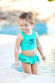 Monogrammed Girl's Mint Swimsuit Set