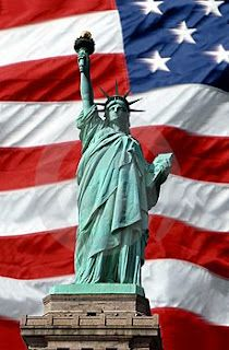 Lady Liberty and the American Flag