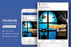 Get your Halloween party started with this spooky Facebook post design. Great for virtual Halloween party ides. $3 #sponsored #ad Social Media Template, Social Media Design, Halloween Flyer, Halloween Party, Youtube Channel Art, Halloween Illustration, Website Themes, Photoshop Cs5, Journal Cards
