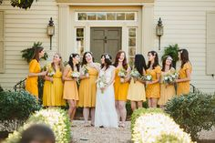 sunny yellow bridesmaid dresses | Ben and Colleen #wedding
