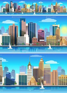 City Illustration Panorama by VitaliyVill Stylized vector illustration of a city, skyscrapers, business buildings, trees. Made in flat style, 100 scalable vector. You can