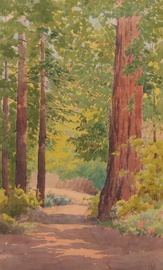 Minerva Pierce watercolor of California redwood trees. Pierce was a student of Lorenzo Latimer. 11″h x 7″w. Frame 14.75″h x 10.25″w