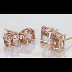 Emerald cut morganite earrings in rose gold 1.55 ct Corderosa Morganite Emerald cut earring studs in rose gold Handmade Jewelry Earrings