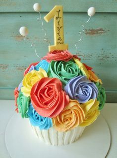 """Rainbow Rose """"smash cake"""" but with the neon bright colors.....love"""
