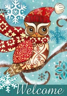 Winter Owl, Tall -- by Jennifer Brinley