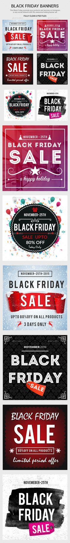 Black Friday Web Banners Template PSD #design #ads Download: http://graphicriver.net/item/black-friday-banners/13684177?ref=ksioks