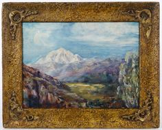 "Lot 341: Julian Onderdonk (American, 1882-1922) ""Mountains"" Oil on Canvas Board; Undated, signed lower right, depicting green grass with mountains in the background; canvas is mounted on board; having a Art Nouveau style frame"