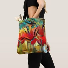 """Red abstract painted tulips, flowers, floral tote All-Over-Print Tote Bag, Medium The classic #tote with a modern twist: all-over-print allows for 100% customization, bringing the basic #bag to the next level. Your next shopping trip just got a little more earth-friendly and a lot more stylish! Dimensions: 16""""l x 16""""w; Strap: 28""""l Material:Exterior: 100% sturdy brushed polyester Interior: 100% polyester non woven laminate 100% cotton web handles Printed then sewn for edge-to-edge designs"""