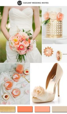 elegant peach and gold outdoor wedding color ideas 2015