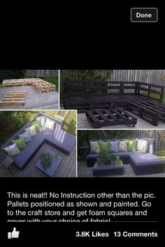 DIY couch for outside! Simple but stylish! a small version of this would be so cute on our porch!