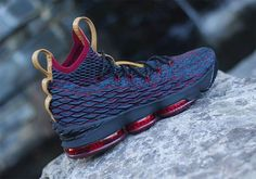 """Seen on LeBron James' feet for the Cleveland Cavs Media Day recently, we now get a closer look at the """"Cavs"""" colorway of the Nike LeBron 15 in wine red and navy Flyknit. The question as to whether these were … Continue reading →"""