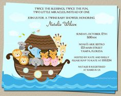 Noahs Ark Baby Shower Invitations for Twins by TheInviteLadyShop, $7.50