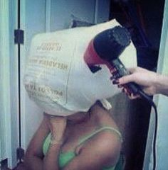 Ghetto hair dryer, salon style! This is the best one yet. Bag & blow hahaha