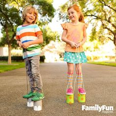 Walk This Way: Any kid can become upwardly mobile with a pair of classic tin-can stilts.