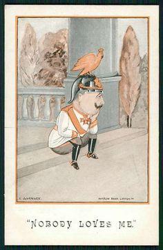 "Child Kaiser Wilhelm II saying ""Nobody loves me,"" WWI comic propaganda postcard, c.1915"