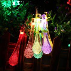 Solar Powered Fairy Waterproof String Lights Water Drop Lamp Garden Pa – bubsolar Solar Patio Lights, Solar Powered Lights, Patio Lighting, Globe String Lights, String Lights Outdoor, Engineer, Fairy, Gardening, Space