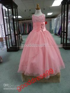 Wholesale New Style Charming Ball Gown Spaghetti strap Floor length Organza Sequin Beading Flower girl Dresses, Free shipping, $80.64-99.68/Piece | DHgate#s57-16-1
