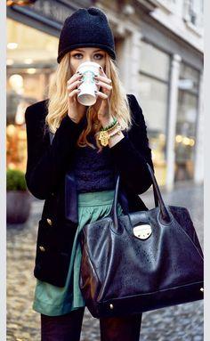 Teal Skirt, Navy Blue Knit Top & Black Blazer
