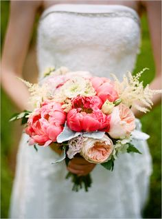 A romantic spring wedding bouquet