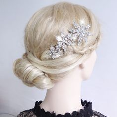"4 7"" Bridal Flower Hair Comb Crown w Austrian Rhinestone Crystal 