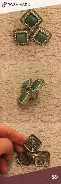 Green Statement Ring size 7 Cute green ring statement ring! 💍Size 7. Green stones with rhinestones along edge. No missing stones, good condition! Some discoloration on the back of the ring which is pictured. I think I bought this from Topshop? (Can't remember!) Feel free to reach me with additional questions :) unknown Jewelry Rings