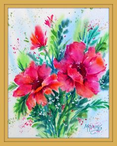 4x6 Gold Frame Print Watercolor Red Flowers by by MarthaKislingArt
