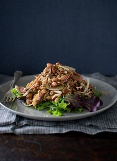 Fennel and Farro Salad with Apple and Pinto Beans! Great flavor combinations! | flourishing foodie