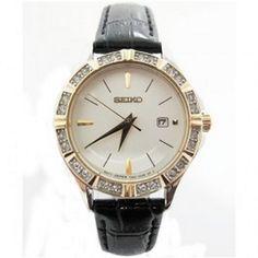 Seiko Black Leather WR 30m Womens Quartz Dress Watch Model - SXDF24P1
