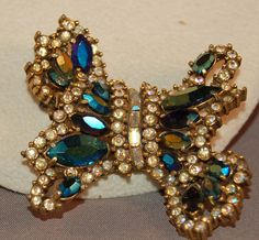 Vintage Aurora Borealis Rhinestone Hollycraft 1956 Fabulous Bow Brooch! DIVINE!   eBay