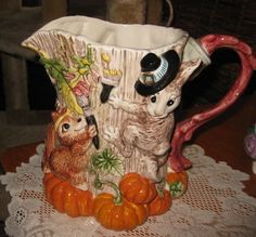 FITZ & FLOYD Paint Party Pitcher -Fall or Thanksgiving Theme-1995