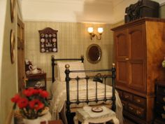 Housekeepers Room, large dolls house with divided attic space. Housekeepers Room, large dolls house with divided attic space. Large Dolls House, My Doll House, Doll Houses, Barbie House, Miniature Rooms, Miniature Houses, Victorian Townhouse, Maids Room, Victorian Dolls