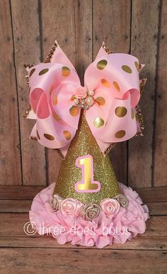First Birthday Bow on Hat  Pink and Gold Birthday by ThreeDoesBows
