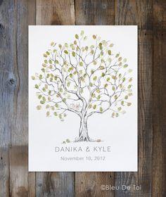 Wedding Guest Book Alternative Fingerprint tree Medium Olive