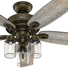 """Hunter Fan 52"""" Regal Bronze Ceiling Fan includes Three-light Fitter with Clear Glass, 5 Blade (Certified Refurbished)"""