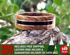 Happy Holidays! Grown Rings feels like giving! We are offering a FREE LEATHER RING HOLDER and FREE RUSH SHIPPING to guarantee your Custom Wood Ring is delivered for your someone special by December 24th! Order between now and December 15th* to take advantage of this offer valued at $60.